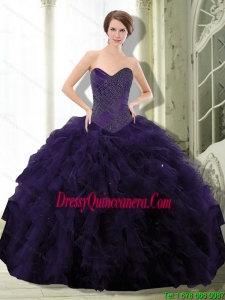 2015 Perfect Dark Purple Sweet 15 Dresses with Beading and Ruffle