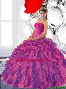 Colorful Sweetheart 2015 Quinceanera Dress with Appliques and Ruffles