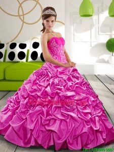 Exquisite Sweetheart 2015 Hot Pink Quinceanera Gown with Appliques and Pick Ups