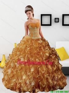 Sturning Appliques and Ruffles 2015 Quinceanera Dress in Gold
