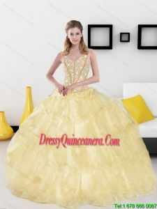 2015 Classical Sweetheart Quinceanera Dresses with Beading and Ruffled Layers