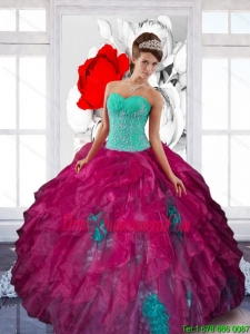 Fashionable Sweetheart Appliques and Ruffles Quinceanera Dresses in Multi Color