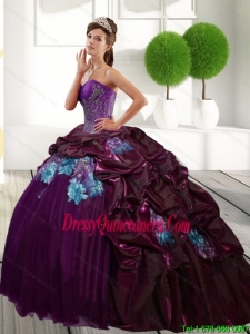 Luxurious Sweetheart 2015 Quinceanera Gown with Appliques and Pick Ups