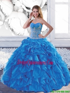 Sophisticated Sweetheart Teal Quinceanera Dresses with Appliques and Ruffles