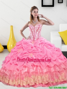 Vintage Sweetheart 2015 Quinceanera Gown with Pick Ups and Beading