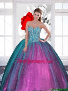 2015 Vintage Sweetheart Quinceanera Dresses with Beading