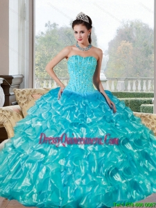 Vintage Beading and Ruffles Sweetheart Quinceanera Dresses for 2015