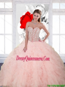 Vintage Beading and Ruffles Sweetheart Quinceanera Dresses for 2015 Spring