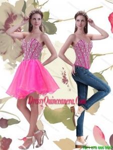 Beautiful 2015 A Line Mini Length Hot Pink Dama Dress with Beading