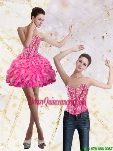 Beautiful 2015 Sweetheart Mini Length Dama Dress with Beading and Ruffles