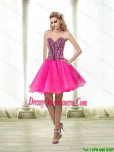 Beautiful A Line Beading Sweetheart Dama Dress in Hot Pink