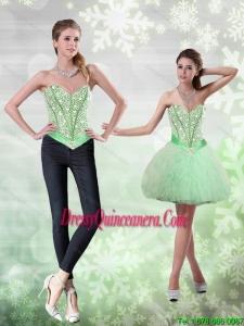 Beautiful Beading and Ruffles Apple Green Dama Dress for 2015