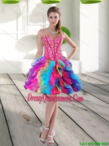 Beautiful Beading and Ruffles Organza 2015 Dama Dress in Multi Color
