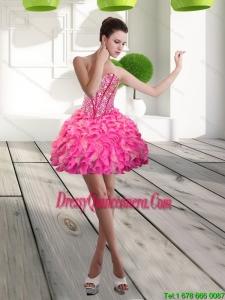 Beautiful Mini Length Sweetheart Beading and Ruffles Dama Dress for 2015