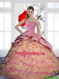 Vintage Pick Ups and Ruffles Sweetheart 2015 Quinceanera Dresses in Multi Color