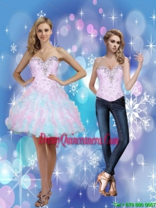 2015 Beautiful Beading and Ruffles Sweetheart Dama Dresses in Multi Color