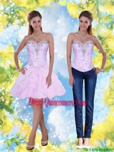 2015 Beautiful Knee Length Beading and Ruffles Sweetheart Dama Dresses