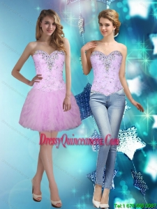 Beautiful Beading and Ruffles Sweetheart Dama Dresses for 2015