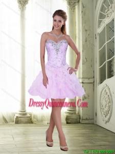 Beautiful Knee Length Beading and Ruffles 2015 Dama Dresses