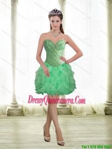 2015 Beautiful Apple Green Dama Dresses with Beading and Ruffles