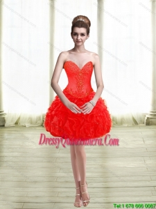 2015 Beautiful Appliques and Ruffles Red Dama Dresses