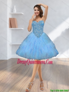 2015 Beautiful Beading and Ruffles Dama Dresses with Sweetheart