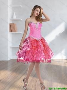 2015 Beautiful Beading and Ruffles Multi Color Dama Dresses
