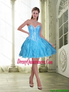 2015 Beautiful Beading and Ruffles Short Dama Dresses in Baby Blue