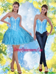 2015 Beautiful Short Beading and Ruffles Baby Blue Dama Dresses