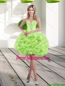 2015 Beautiful Sweetheart Short Rolling Flowers Dama Dresses in Spring Green