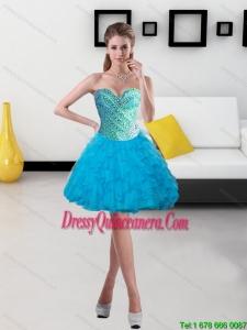 Beautiful 2015 Beading and Ruffles Short Dama Dresses in Baby Blue