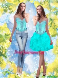 Beautiful 2015 Beading and Ruffles Sweetheart Aqua Blue Dama Dresses