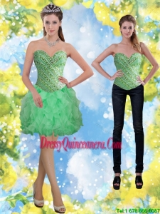 Beautiful Apple Green Beading and Ruffles Dama Dresses for 2015