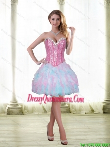 Beautiful Beading and Ruffles Short 2015 Dama Dresses with Sweetheart