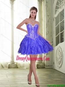 Beautiful Beading and Ruffles Short Lavender 2015 Dama Dresses