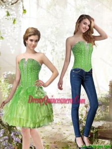 Beautiful Lime Green Dama Dresses with Beading and Ruffles for 2015