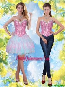 Beautiful Short Beading and Ruffles Sweetheart Dama Dresses for 2015