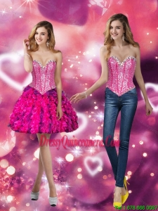 Beautiful Sweetheart Multi Color 2015 Dama Dresses with Beading and Ruffles