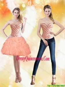 Beautiful Sweetheart Short Peach 2015 Dama Dresses with Beading and Pick Ups
