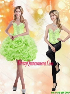 Beautiful Sweetheart Short Rolling Flowers 2015 Spring Green Dama Dresses