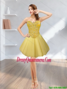 Beautiful Tulle Short Sweetheart Beading 2015 Gold Dama Dresses