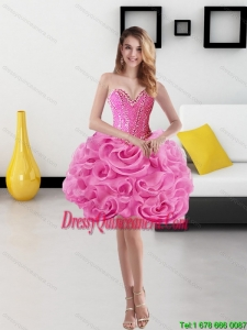 Beautiful Sweetheart Short Rolling Flowers Rose Pink Dama Dresses for 2015