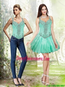 Beautiful Beading and Ruffles Apple Green Dama Dresses