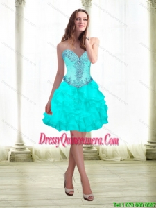 2015 Popular Beading and Ruffles Aqua Blue Dama Dresses with Sweetheart