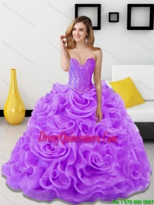 Beautiful Beading and Rolling Flowers Lavender 2015 Sweet 15 Dresses