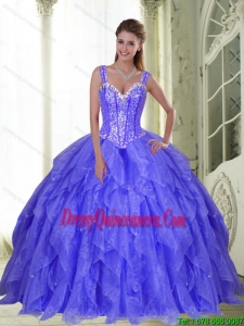 New Style Beading and Ruffles Quinceanera Dresses in Lavender for 2015