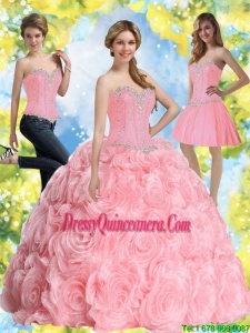 2015 Vintage Beading Baby Pink Quinceanera Dresses