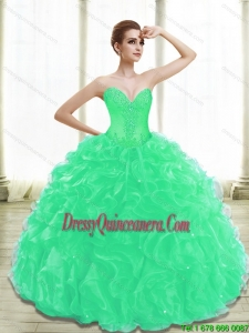 Vintage Appliques Quinceanera Dresses in Turquoise for 2015