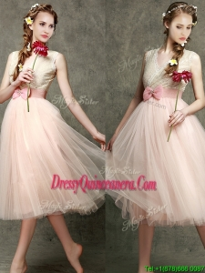 Beautiful Tea Length V Neck Dama Dress with Belt and Bowknot