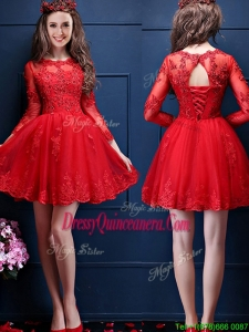 Classical Scoop Three Fourth Length Sleeves Short Dama Dress with Beading and Lace